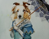 Custom Portrait - Large Watercolor -Pet with Costume or Theme