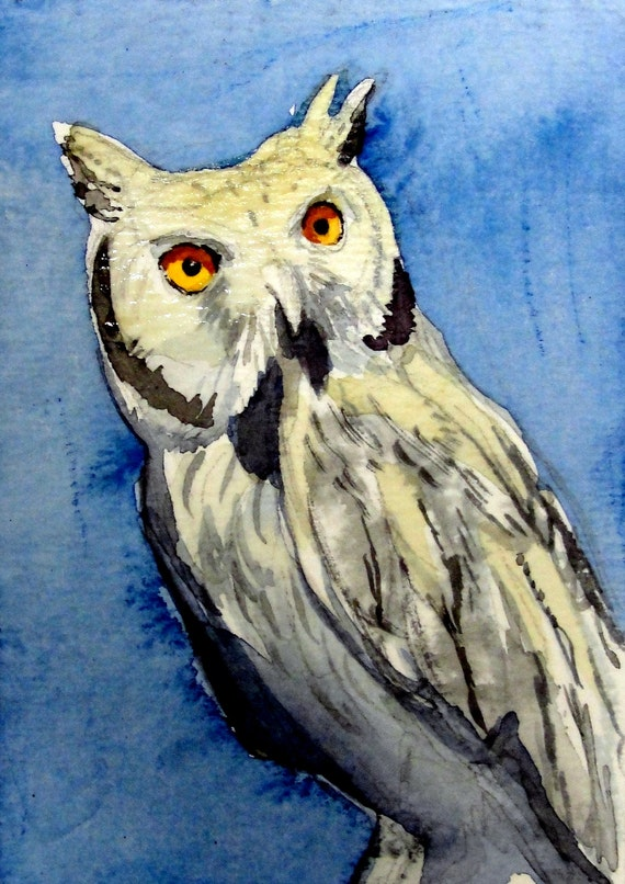 "Owl Art- ""Contemplative""  - ACEO Watercolor Painting"