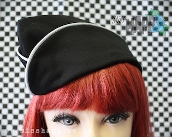 Black and white World War II Military Flight hat with white edging
