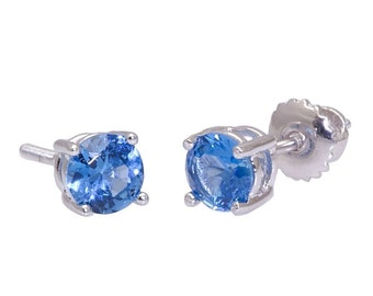 1.50ct 6mm Round Brilliant-cut London Blue Topaz Screw Back Stud Earrings Solid 925 Sterling Silver, JEX30066-0977
