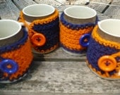 Set of 4 Navy and Orange Mug/Cup Cozies