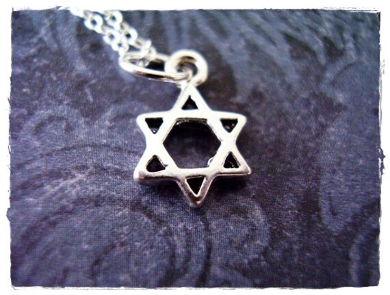 Tiny Silver Star of David Necklace - Sterling Silver Star of David Charm on a Delicate 18 Inch Sterling Silver Cable Chain