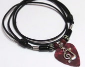 Guitar Pick Necklace - Red - Adjustable - Unisex -  Music Charm - Music Necklace