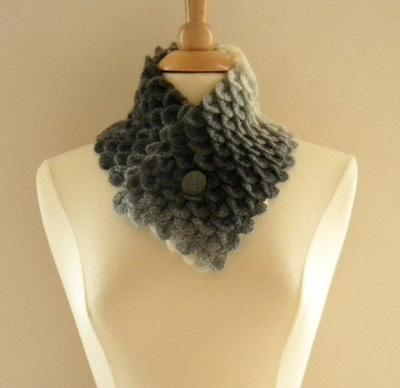 Crocheted Womens Crocodile Stitch Scarf Neckwarmer Black Dark Gray Light Gray and Soft White