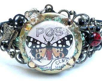 SALE Butterfly Stamp Locket Cuff Bracelet