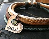 Organic Rustic Personalized Bracelet - Personalized Bracelet - Personalized Heart Bracelet - Leather Personalized Bracelet