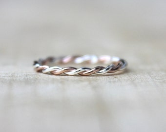 Rose Gold Twist Ring -2 Tone Stackable Ring, karma jewelry, eternity ring, nautical theme, thin gold ring