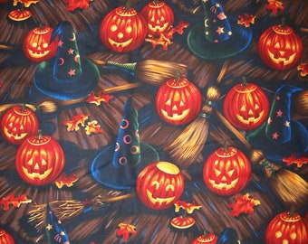 A Gorgeous Bellknobs And BroomSticks Halloween Holiday Tossed Cotton Fabric By The Yard Free US Shipping