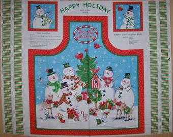 A Wonderful Tis The Season Christmas Apron Fabric Panel Free US Shipping
