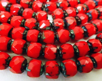 25 Czech Glass 6mm Fire Polish Round Red Renaissance Beads with Picasso Finish