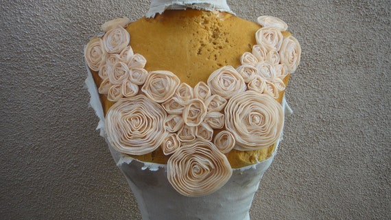 Cute embroidered flower  applique yoke