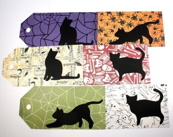 6 Black Cat Halloween Tags - party favor, tag, label, silhouette, bookmark, large, spider, spiderweb, cobweb, ghost, skeleton