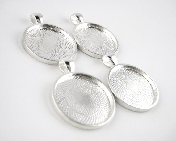 10pcs 25mm bezel pendant tray setting antique by