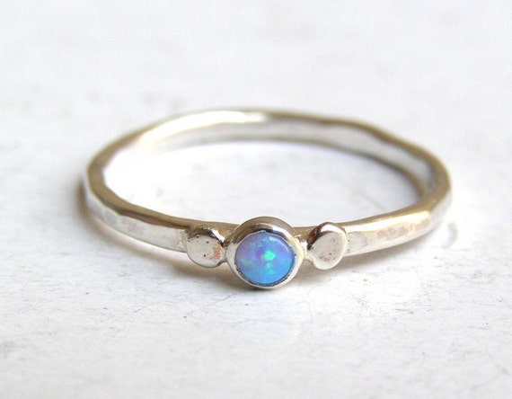 Engagement Ring -opal ring silver ring  - Recycled silver sterling ring Made to order