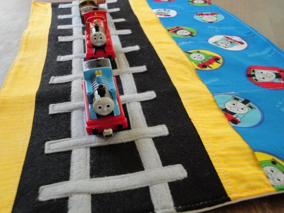 Thomas the Train Caddy Roll up Tote with Railroad Tracks