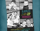 Love Joy Wonder. Colorful Modern Multi Photo Holiday Card.  Any text, for 1 or more photos. By Tipsy Graphics
