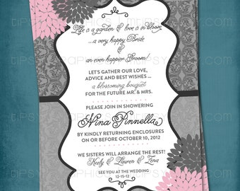 Dahlia Lace Baby or Bridal Shower Invite. Any colors by Tipsy Graphics