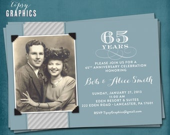 Blue & Silver. 65th Wedding Anniversary Invitation or Announcement by Tipsy Graphics. Any colors, any anniversary