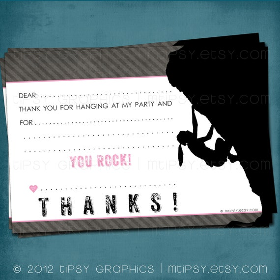 You Rock. Rock Climbing Party Thank You Note for Big Kids by Tipsy Graphics