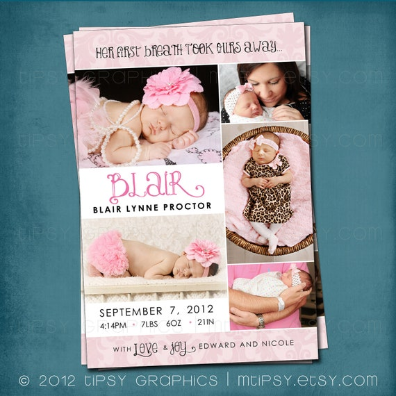 Pink Damask 5 Photo Collage Birth Announcement by Tipsy Graphics.  Any colors and text