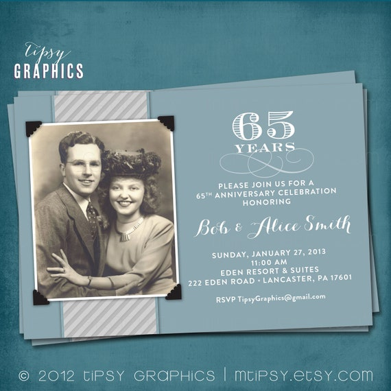 Blue Amp Silver 65th Wedding Anniversary Invitation Or