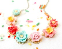 Flower Girl Necklace, Flower Girl Gift, Girls Flower Necklace,  Flower Girl Jewelry, Gift for girls