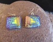 Hearts on Blue Earrings Sandblasted Glass - Fused Glass Jewelry