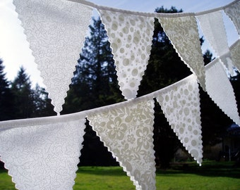 Simply Pretty White Wedding Bunting Flag Set- 2 strands