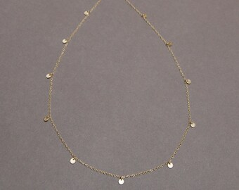 Solid 10K Gold, Eleven 3.75mm Tiny Disc Necklace