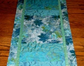 Smokey Blue Maple Batik Table Runner