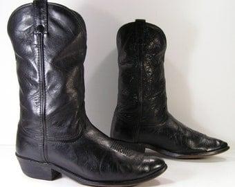 santa claus cowboy boots mens 10 ee wide black western leather biker farm work