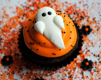 Ghosts-  Royal Icing Cake and Cupcake Toppers-  Halloween Fun (12)
