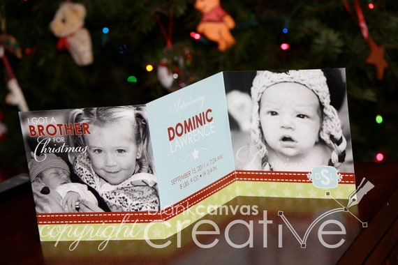 DIY Christmas Card - Baby Announcement Template