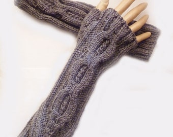 Fingerless Gloves Mittens, Knit Long Cable Dark Grey Fingerless Gloves, Arm Warmers, Winter Accessories Fall Fashion Owl