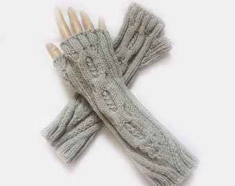 Grey Fingerless Gloves, Mittens, Knit Long Cable Grey Fingerless Gloves, Arm Warmers, Winter Accessories Fall Fashion
