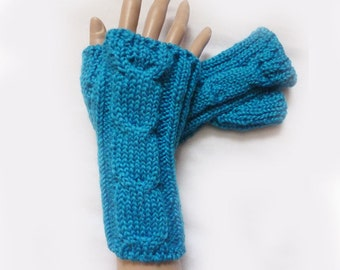 Knit Turquoise Fingerless Gloves Mittens Arm Warmers  Women For her Winter Fall Gloves