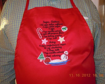 Holiday Apron-cookie recipe-embroidered