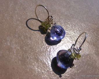 Lilac Quartz with Peridot Earrings.