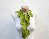 Handmade  crochet Lariat Scarf  Green Red  Necklace Scarf Winter Fashion