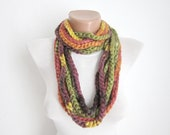 Crochet Scarf infinity Green yellow orange Necklace Colorful Variegated Long Winter Accessories-chain loop scarf