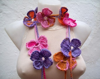 Crochet Lariat Necklace Scarf,Flower Lariat Scarf,Colorful Long Necklace,