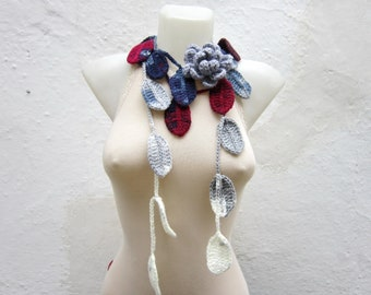 Scarf, Crochet Flower Lariat, Flower Leaf Scarf, Brooch Pin, greey blue white  burgundy neckscarf, crochet jewelry,  Boho fashion,