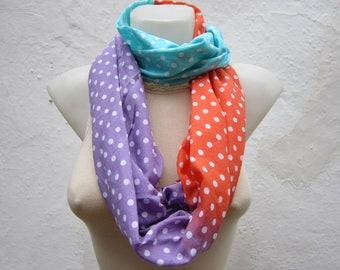 infinity scarf Loop scarf Neckwarmer Necklace scarf Fabric scarf  Polka Dot  Blue Lilac  Orange White  Gift Ideas Women scarf  christmas
