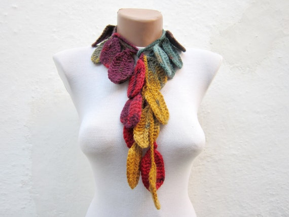 Crochet Lariat Scarf,Colorful Leaf Scarf,Variegated Necklace