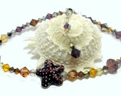 Anklet Crystal Topaz Amethyst Copper Chocolate Swarovski Fall at the Seaside