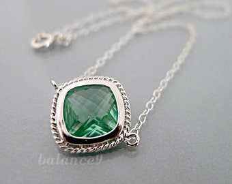 Erinite necklace, framed glass crystal charm pendant, sterling silver chain jewelry, delicate, Holidays gift, by balance9