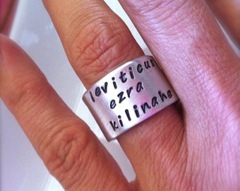 Sale---NEW-Brag Ring...Hand Stamped Rings by dc&t