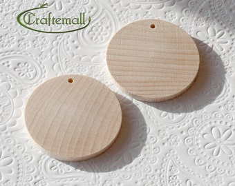 CLEARANCE: Wooden Earring Components for Decoupage or Painting - 40mm Flat Round - set of 20