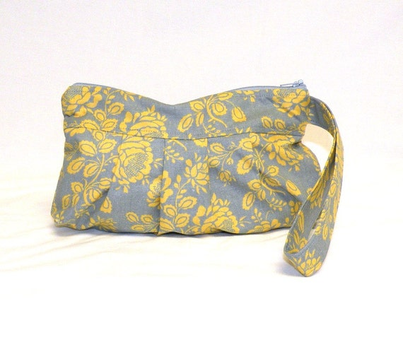 Pleated Wristlet in grey and yellow rose floral pattern