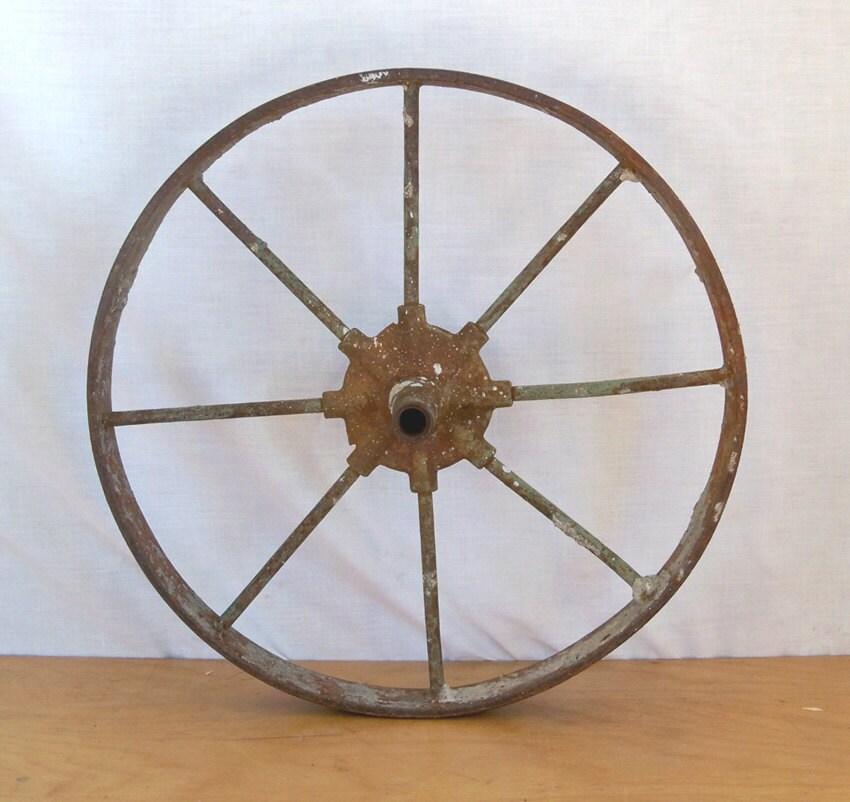 Antique Cast Iron Wheel Barrow Wheel Nicely Distressed